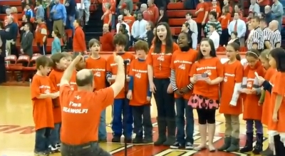 kids singing at basketball game